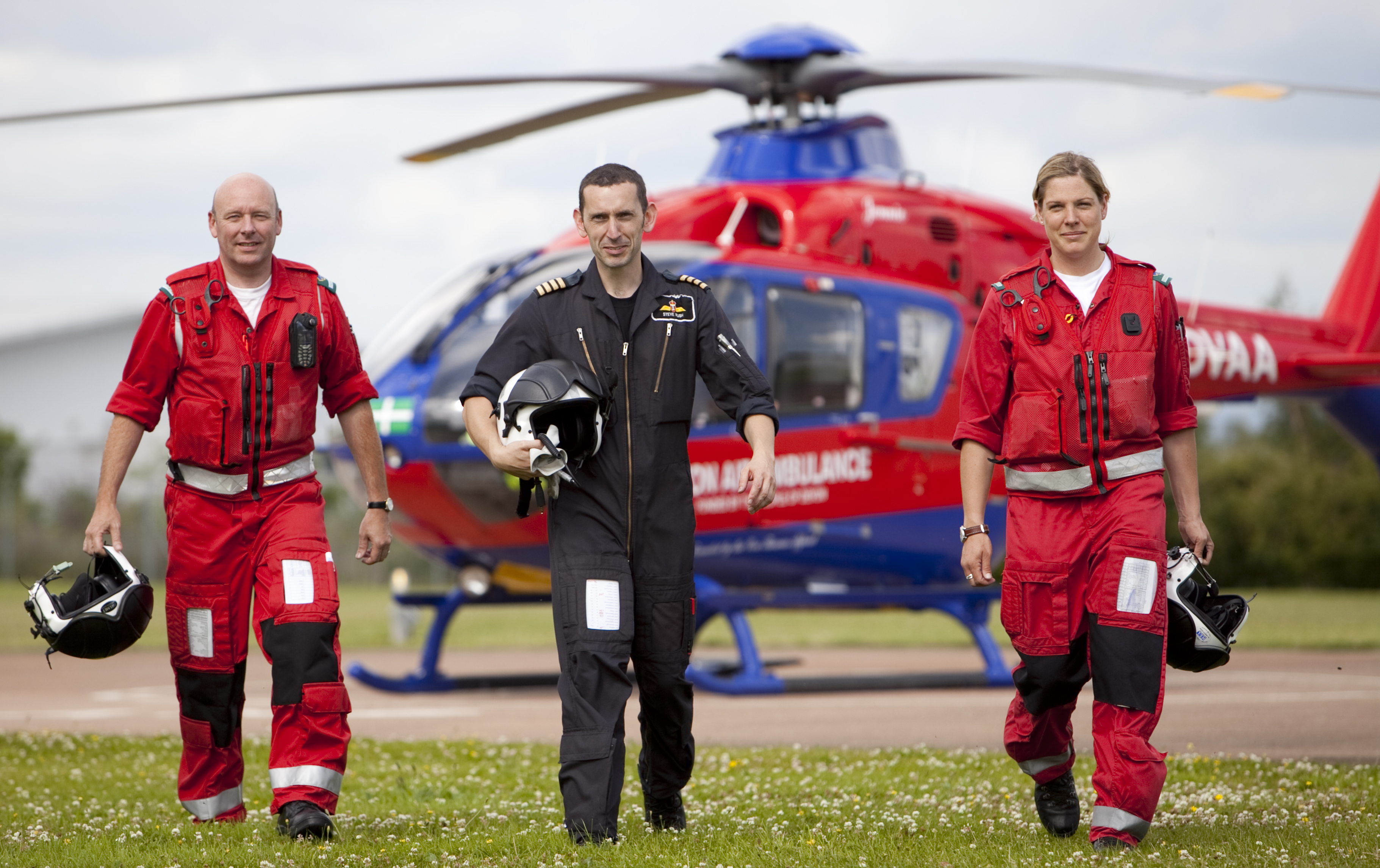 Three members of the Devon Air Ambulance air crew out in the field