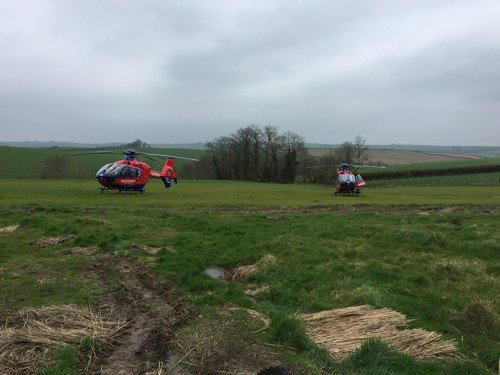 2 helicopters at narracott farm in south molton