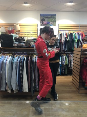 Alternative rock star Yungblud peruses shelves in the Devon Air Ambulance Plymouth store