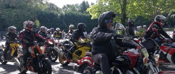 The 2017 Motorcycle Rideout in action