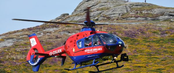 One of the Devon Air Ambulance Helicopters at Haytor