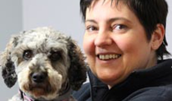 Chief Executive, Helena Holt, and her dog, Mollie