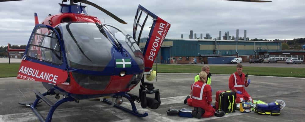 Devon Air Ambulance crew checking kit in preparation for the next mission