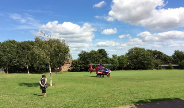 A visit from one of our helicopters to a local school