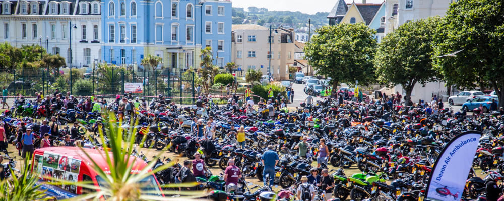 Bikers assembled at the Den in Teignmouth in 2019