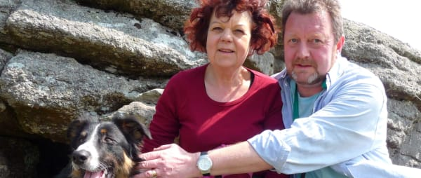 Former patient Jane with her husband and dog