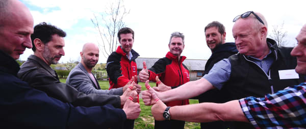 the devon air ambulance operations team give the thumbs up