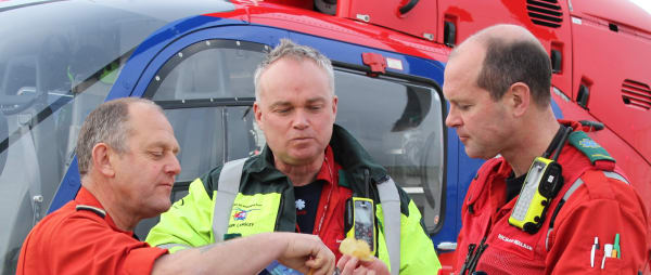 members of our aircrew tuck into Burts Crisps - one of our supporting corporate brands