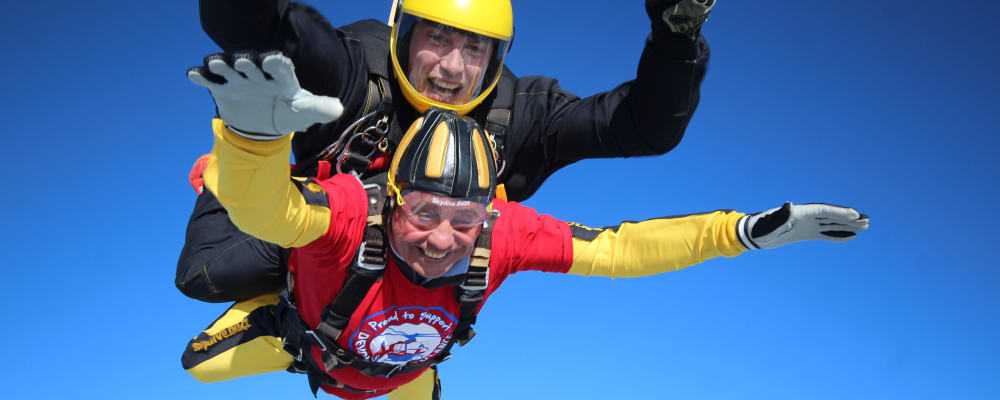 A skydiving fundraiser and his buddy take a leap in aid of Devon Air Ambulance