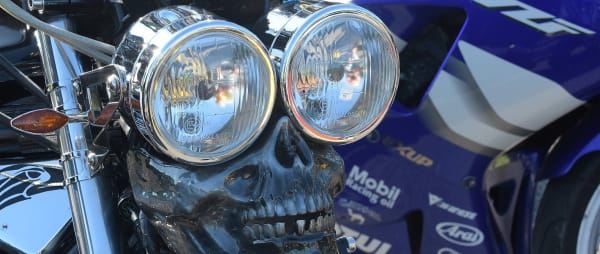 Motorcycle handlebars with skull and headlamps for the 2019 motorcycle Ride Out