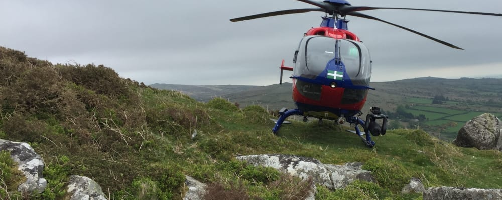 Devon Air Ambulance helicopter lands on the moors