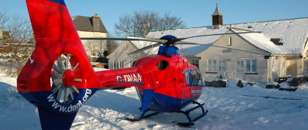 One of our Devon Air Ambulances in snow in Princetown.