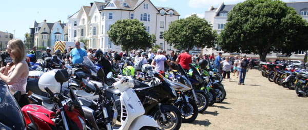 bikes line up at the den for the 2018 motorcycle ride out