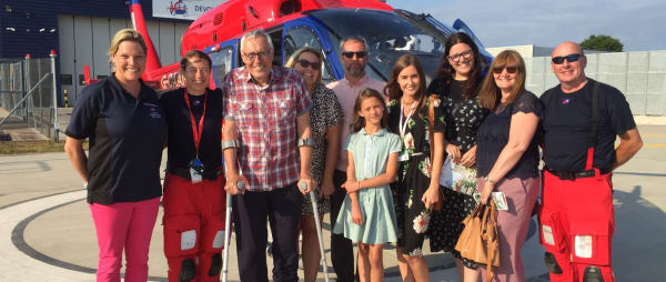 Patient David Entwistle and his family assemble at the airbase