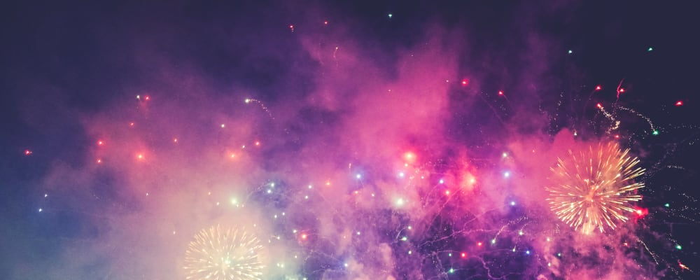 Exeter Round Table Fireworks Display 2019 in support of Devon Air Ambulance: Fireworks in the sky. Sun 3 November