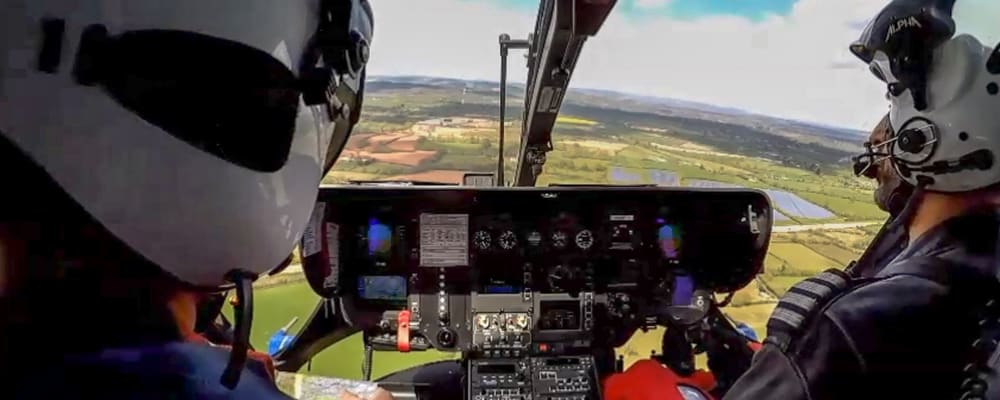 Pilot and paramedic in helicopter