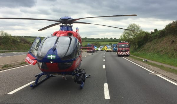 Devon Air Ambulance helicopter  attends a road traffic collision