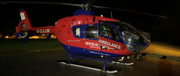 Devon Air Ambulance targeted by bright lights